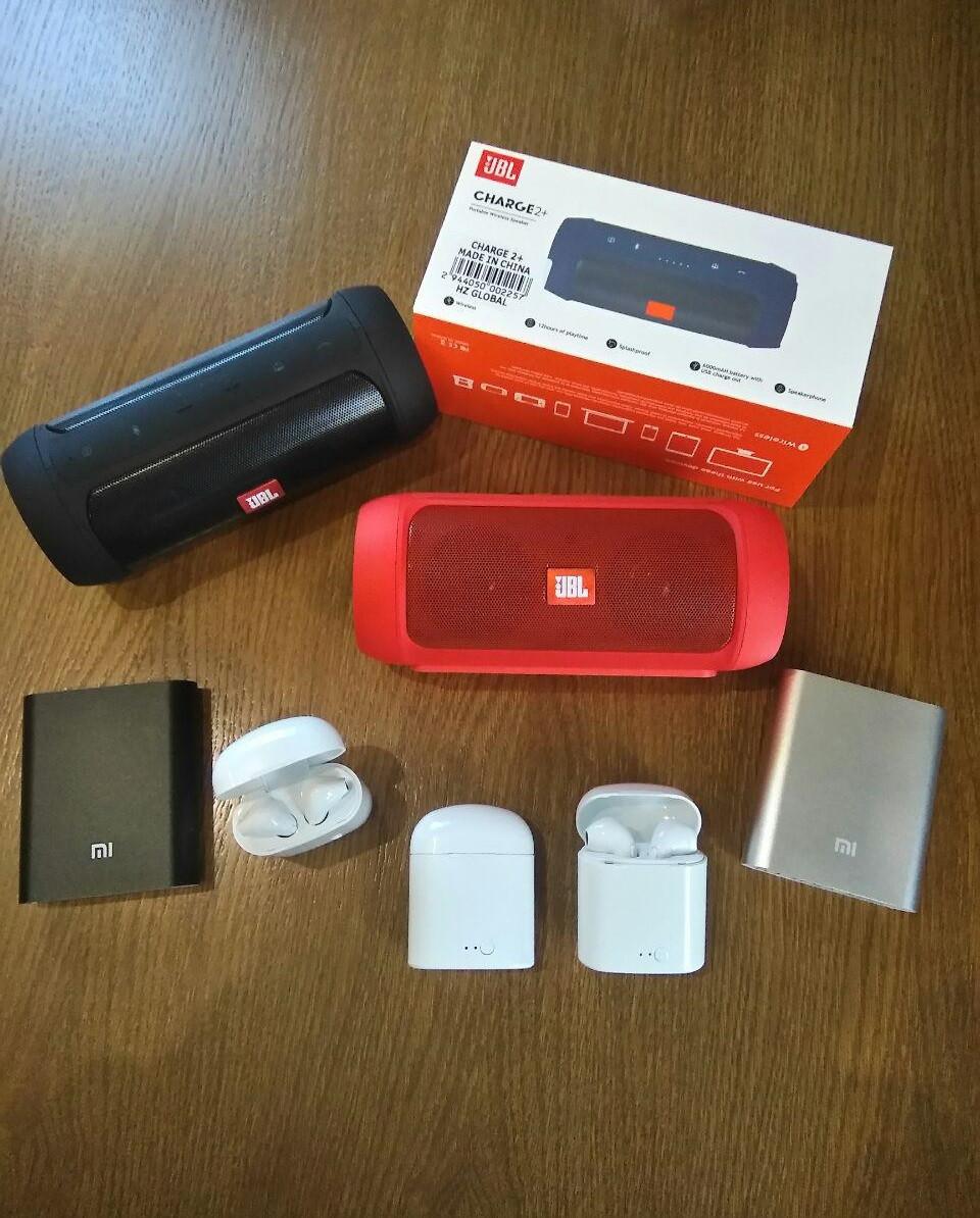 Набор Колонка JBL charge 2+ + наушники i7s в кейсе + Power Bank 10400 Xiaomi