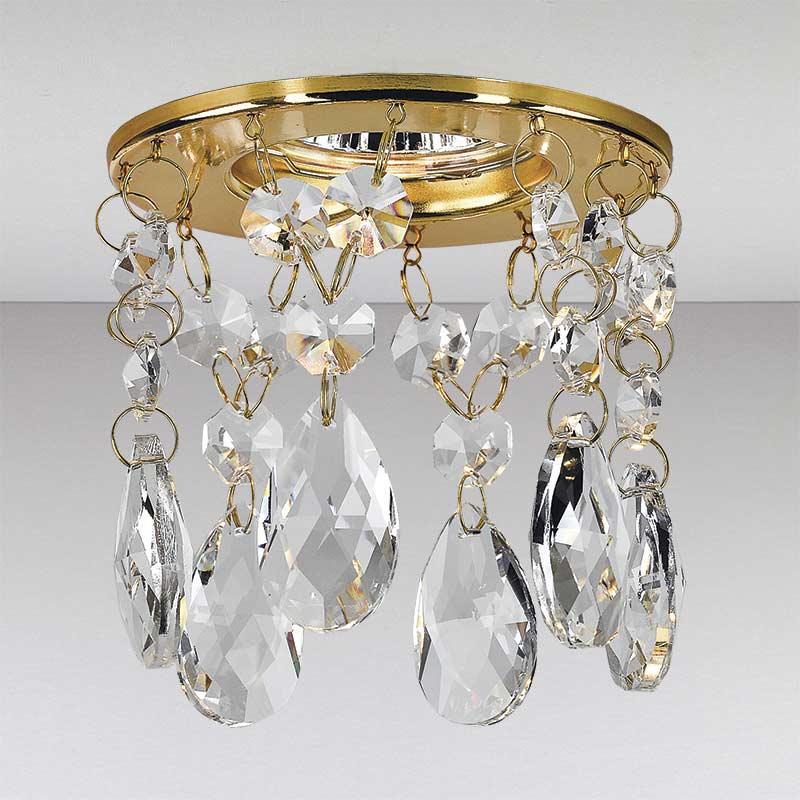 Точечный  хрустальный светильник, золото LS-11198 GD/CL