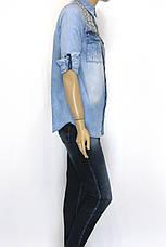 Жіноча джинсова сорочка з стразами, фото 3