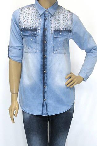 Жіноча джинсова сорочка з стразами, фото 2