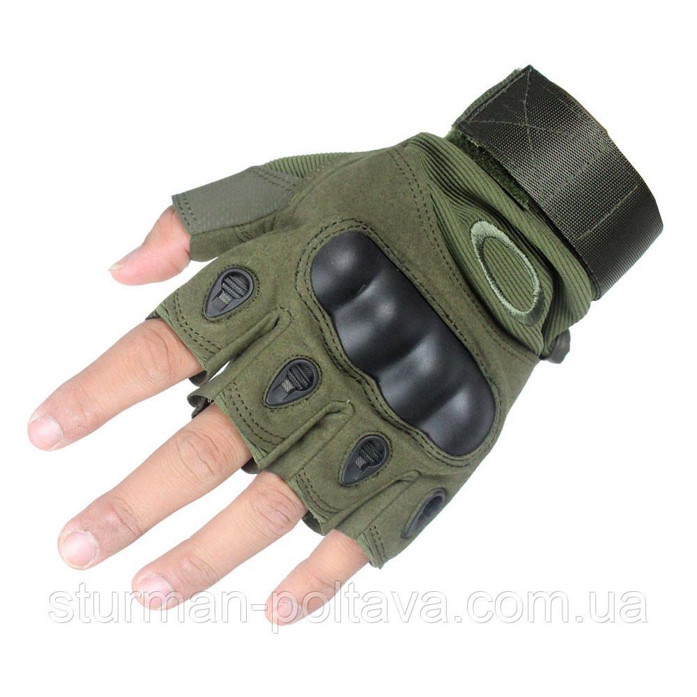 Тактические перчатки обрезные олива  размер M