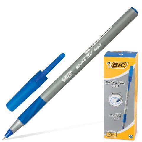 Ручка Раунд Стик Экзакт синяя, тонкая линия, УП20