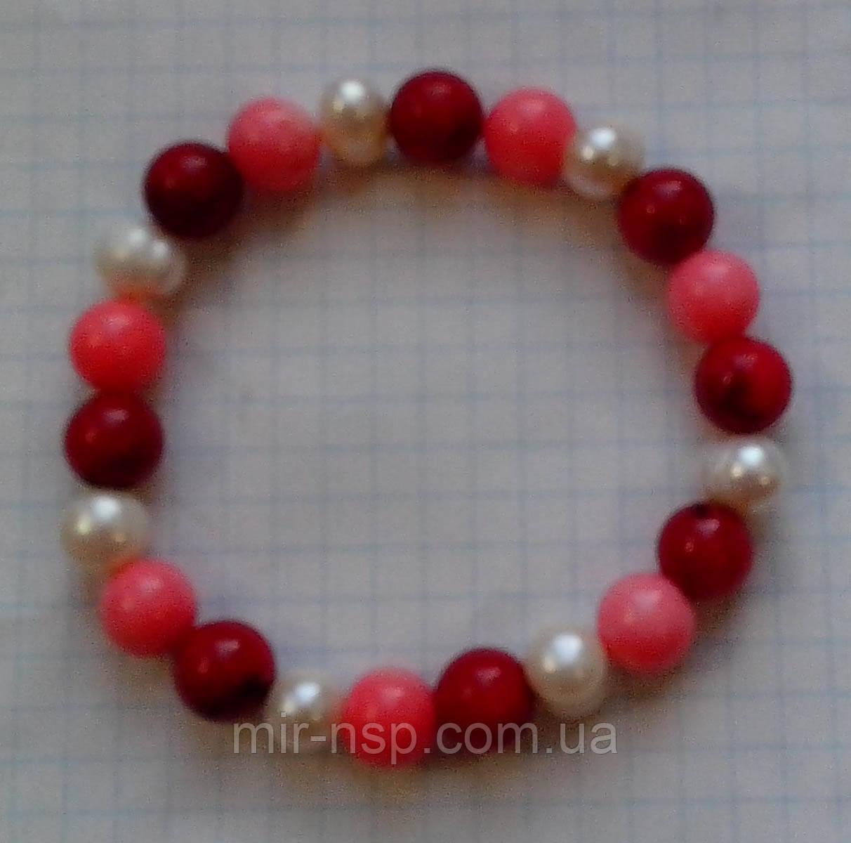 Браслет натуральные красный и розовый Коралл и Жемчуг 10 мм