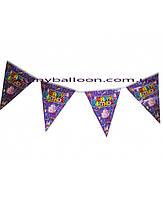 """Флажки-банер на тему  """"Happy Birthday"""" фиолетовые 250 см."""