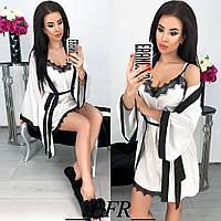 Красивый женский шелковый комплект халат пеньюар с кружевом белый 42-44 46-48, фото 1