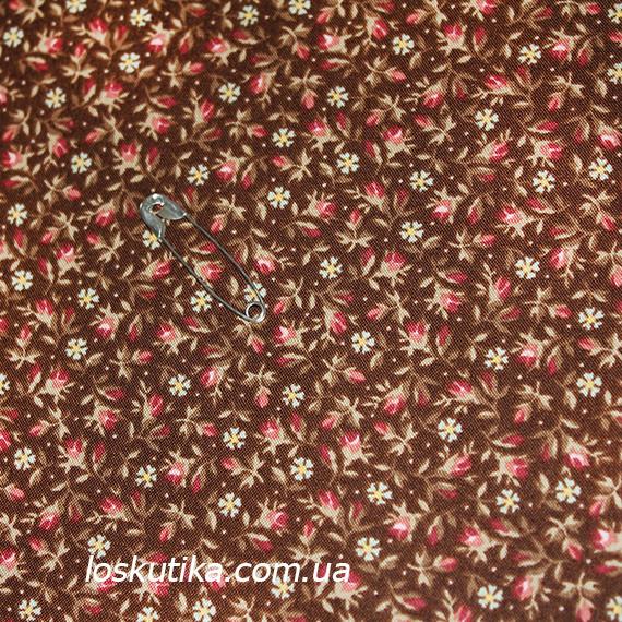 44006 бутончики на коричневом. Ткани с цветочками для кукол, рукоделия, декора и шитья.