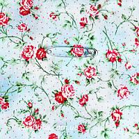 44009 Кроха-роза (фон неоднородный голубой). Ткани с мелкими цветочками для кукол, рукоделия, декора и шитья.