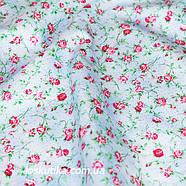 44009 Кроха-роза (фон неоднородный голубой). Ткани с мелкими цветочками для кукол, рукоделия, декора и шитья., фото 2
