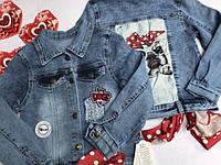 Куртка джинсовая с Собачкой , 7-9 лет, джинсовый варёнка