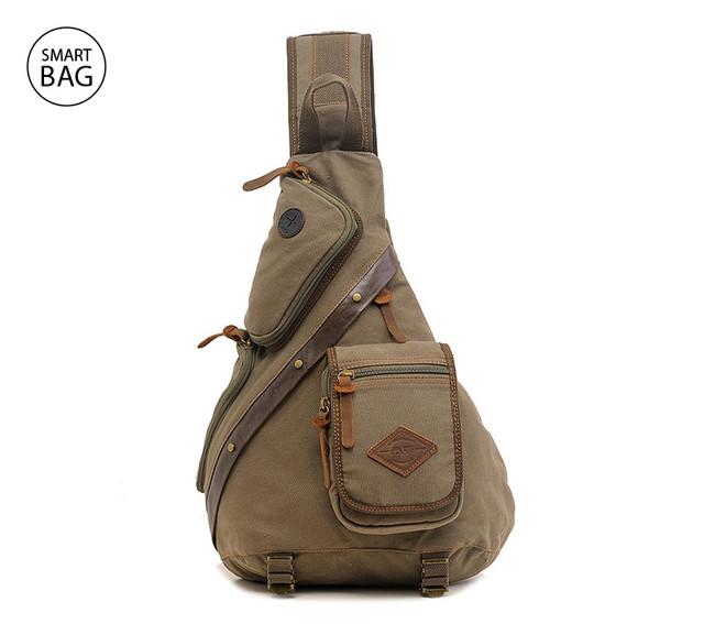 Брезентовый рюкзак на одно плечо Augur | хаки
