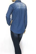 Жіноча джинсова сорочка з стразами і вишивкою , фото 2
