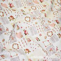 47003 Розочки- веночки (постельные тона). Ткань для кукол Тильд. Тильда ткани.