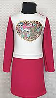 Детское прямое платье с Лол 110-128 малиновый, фото 1
