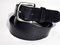 Ремень кожаный мужской джинсовый  черный длинный