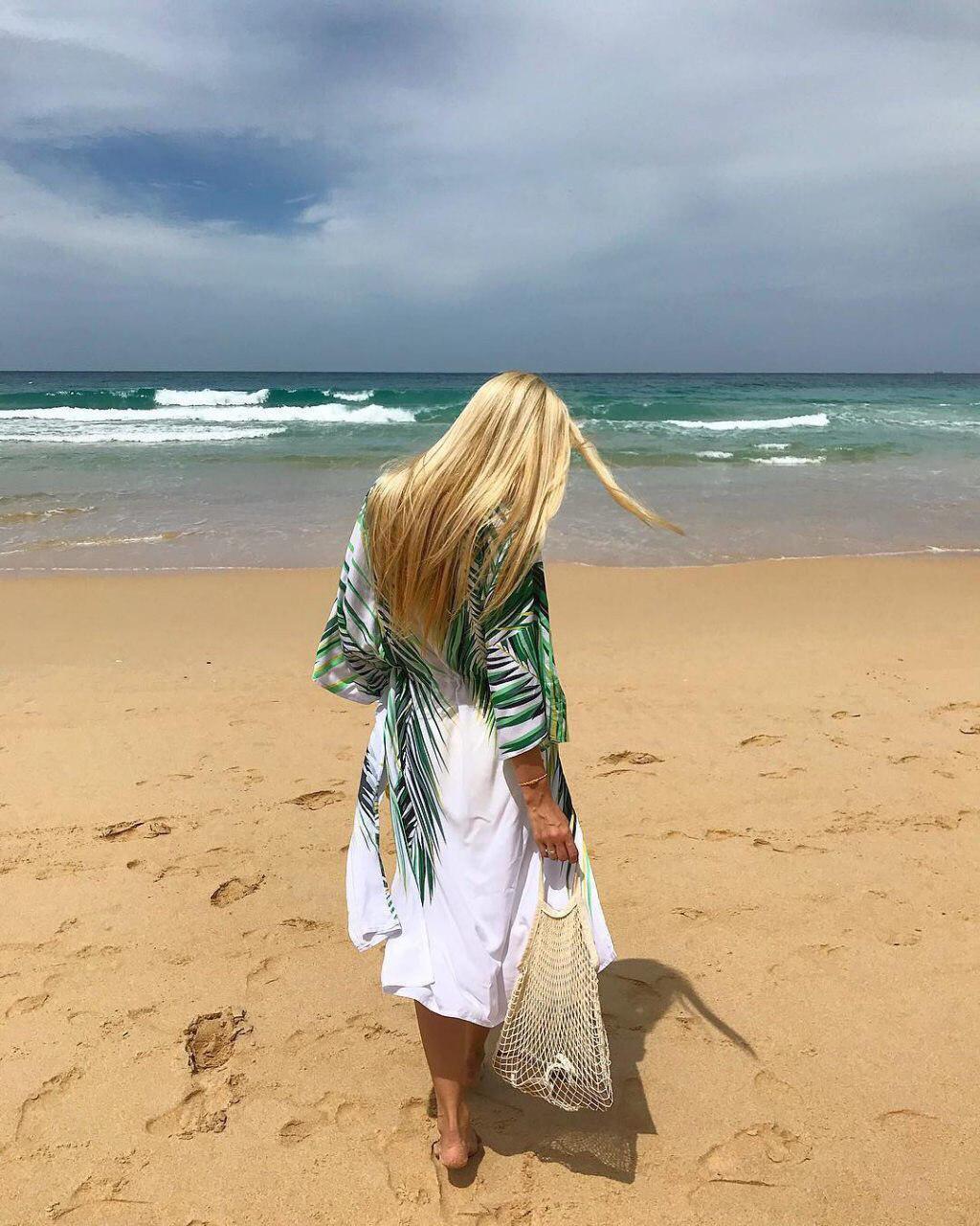 Туника пляжная с принтом пальмовых листьев