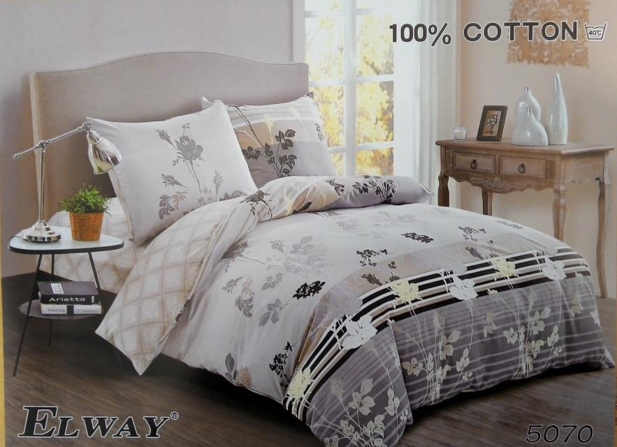 Сатиновое постельное белье семейное ELWAY 5070
