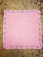 Детский плед плюшевый, нежно розового цвета, ручная работа.