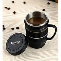 Термокружка объектив CANON 17-55 mm с ручкой, фото 1