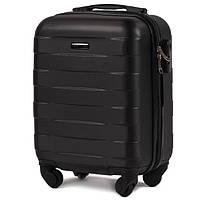 Мини ударостойкий чемодан очень надежный (ручная кладь) на 4 колесах фирма Wings (черный)