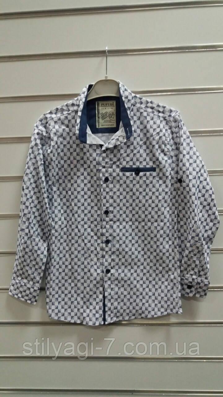 Рубашка на мальчика 5-8 лет белого, бордового, темно синего цвета оптом