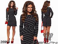 Короткое трикотажное платье в полоску с поясом на талии размеры S-L, фото 1