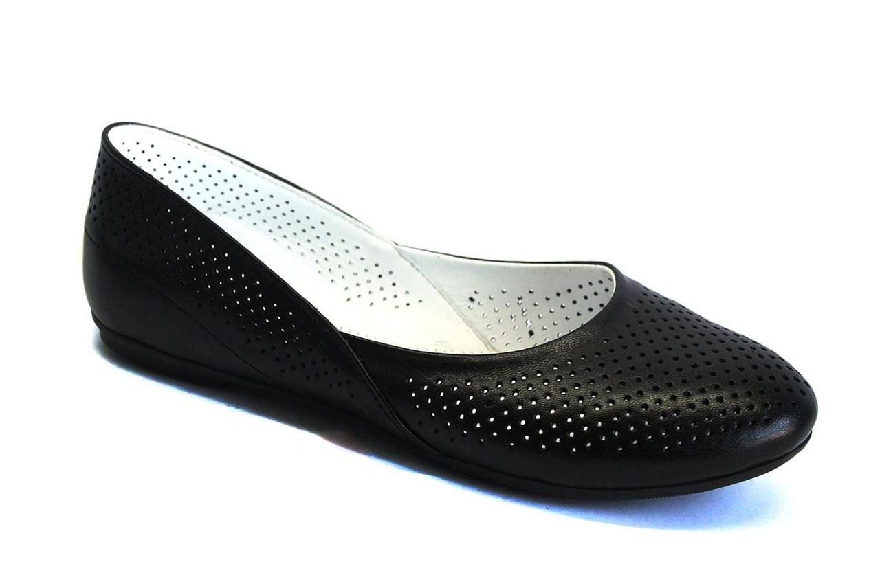 Великий розмір чорні балетки жіночі шкіряні Scara U Black Perf Leather by Rosso Avangard BS літні