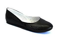 Большой размер черные балетки женские кожаные Scara U Black Perf Leather by Rosso Avangard BS летние