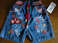 Детские летние джинсовые шорты, божья коровка ,для девочки 1-4. Турция