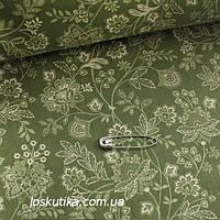 41001 Зеленый природный мотив. Ткани с цветочным узором. Подойдет для кукол, рукоделия и лоскутного шитья.