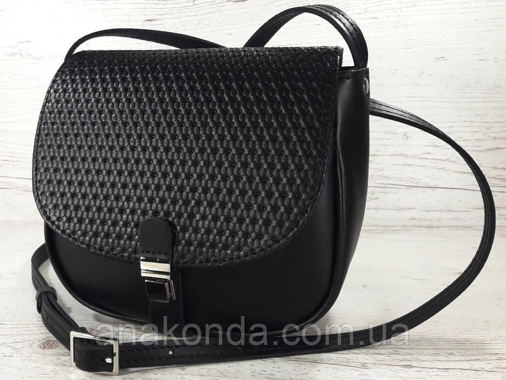 171-1 Сумка женская из натуральной кожи черная сумочка кросс-боди черная кожаная сумка женская через плечо