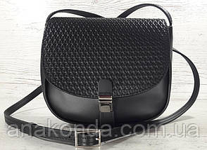 171-1 Сумка женская из натуральной кожи черная сумочка кросс-боди черная кожаная сумка женская через плечо, фото 2