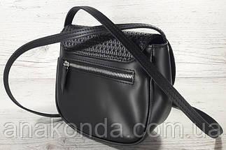 171-1 Сумка женская из натуральной кожи черная сумочка кросс-боди черная кожаная сумка женская через плечо, фото 3