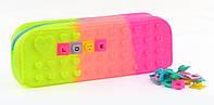 Пенал силиконовый с глитером трехцветный, 24 пазла, 21*8*6