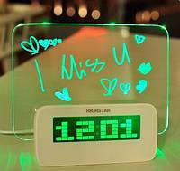 Светящийся LED будильник с доской для записи «Светящаяся записка» с маркером | Настольные цифровые лед часы