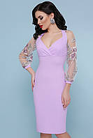 Святкова сукня з креп-дайвінгу та вишитої сітки, фото 1