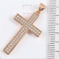 Кулон Крест с фианитами 3,1 см, медзолото, медицинское золото