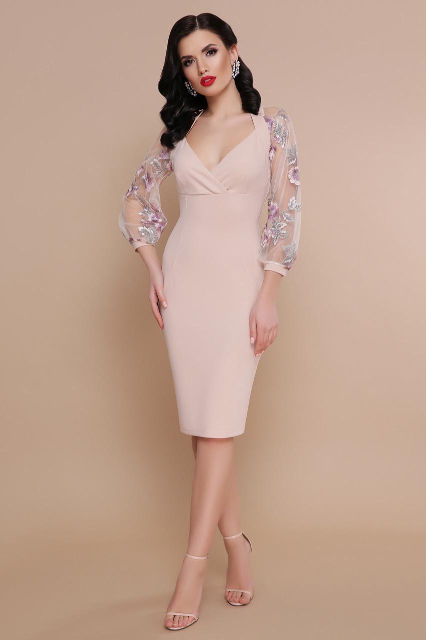 Святкова сукня з креп-дайвінгу та вишитої сітки