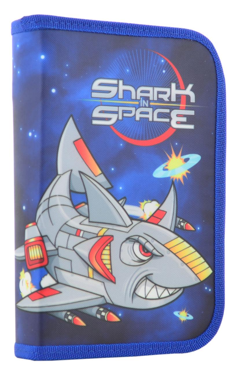 Пенал твердый одинарный с двумя клапанами Shark space, 20.5*13*3.6