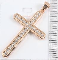 Кулон Крест с фианитами 3,5 см, медзолото, медицинское золото