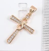 Кулон Крест с фианитами 2,5 см, медзолото, медицинское золото