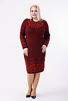 Платье вязаное Пальмира р. 46-60 черный-красный, фото 1