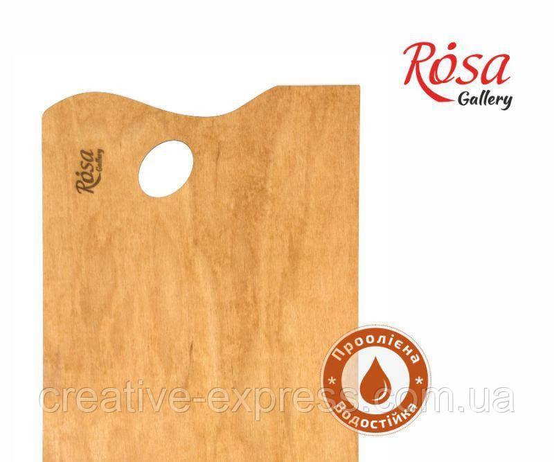Палітра дерев'яна, під етюдники подольського типу, прямокутна, промаслена, 38,5х28,5 см, ROSA Galler