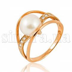 Золотое кольцо с жемчугом и бриллиантами 12235