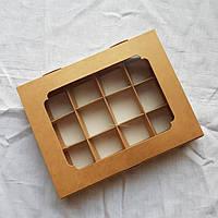 Коробка на 12 конфет (крафт с окошком)