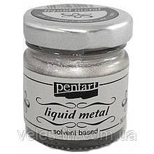 Краска с эффектом жидкого металла, на основе растворителя, Серебро, 30мл, Pentart
