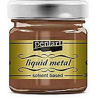 Краска с эффектом жидкого металла, на основе растворителя, Медь, 30мл, Pentart