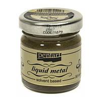 Краска с эффектом жидкого металла, на основе растворителя, Золото Античное, 30мл, Pentart