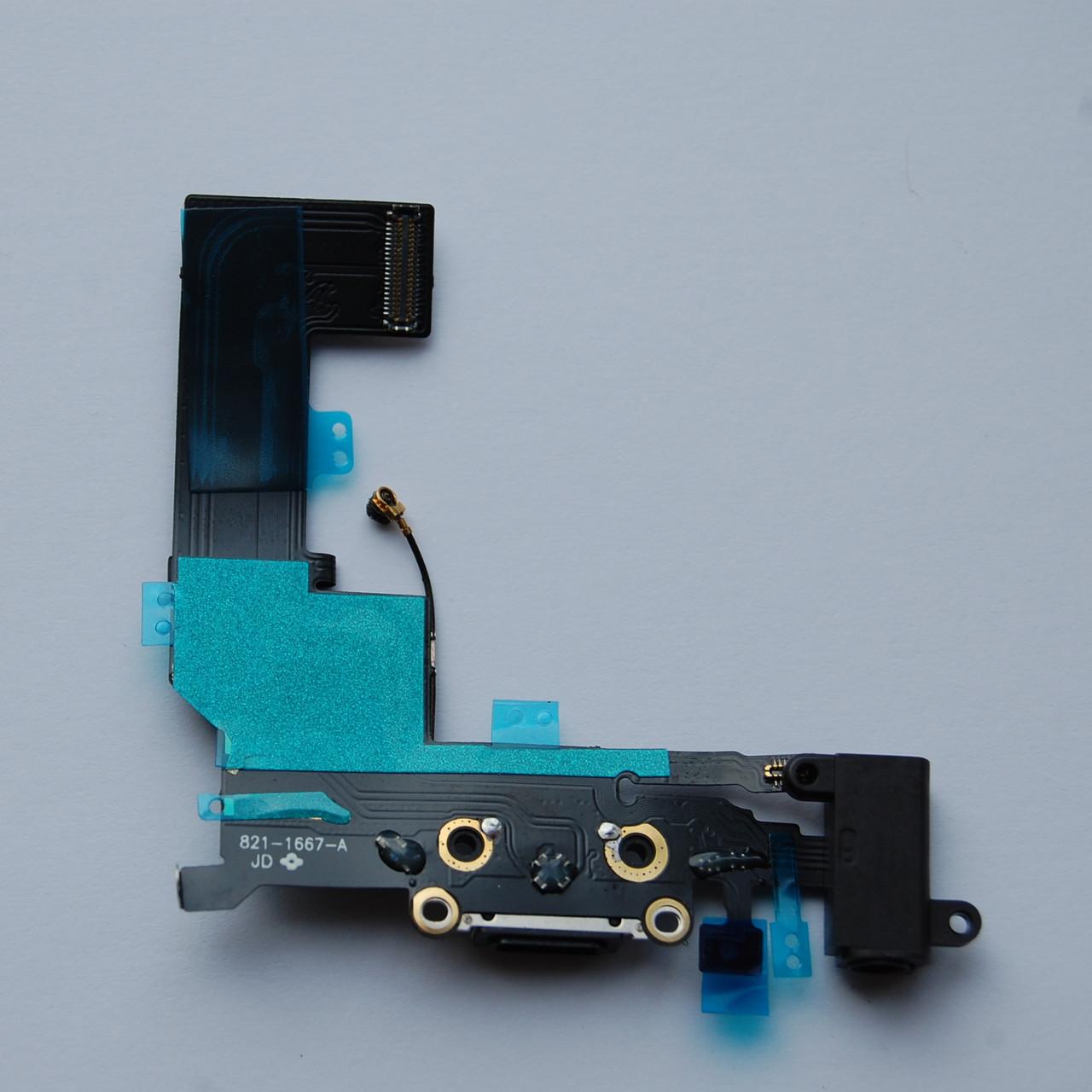 Шлейф Apple iPhone 5s коннектора зарядки, коннектора наушников, с компонентами, с микрофоном черный