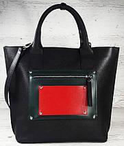501-1 Натуральная кожа, Сумка-тоут женская, объемная черная комбинировання красная зеленая трапеция, фото 2