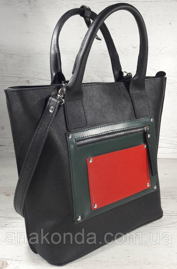 501-1 Натуральная кожа, Сумка-тоут женская, объемная черная комбинировання красная зеленая трапеция